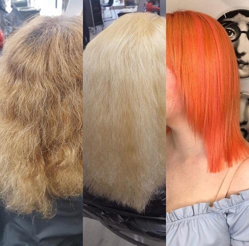 overbleached hair corrected top hairdressers bishops stortford hertfordshire